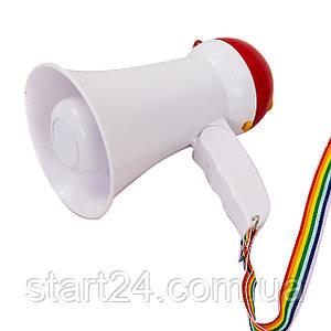 Гучномовець HW-1R (пластик, d-9,8 см, l-15,5 см, 15W, складн, на батарейках AA 6шт, запис 10сек)