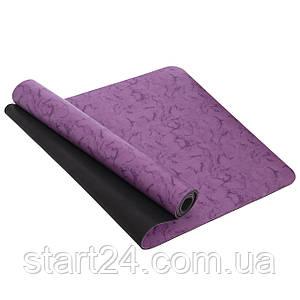 Коврик для фитнеса и йоги PU 5мм FI-0566 (размер 1,83мx0,68мx5мм, цвета в ассортименте)