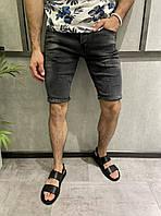 Мужские джинсовые шорты черного цвета (черные) узкие Турция