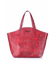Сумка женская кожаная POOLPARTY Fiore Leather Handbag Crocodile красная, фото 1