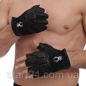 Перчатки для кроссфита и воркаута кожаные SPIDER WorkOut BC-169 размер L-XL черный