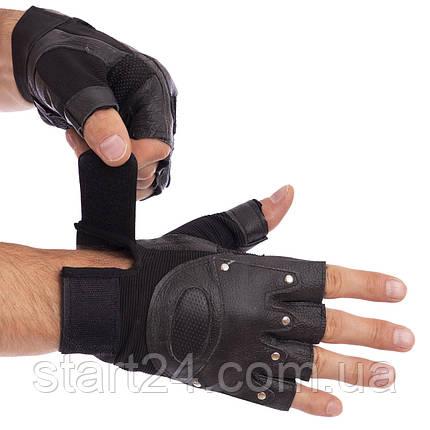 Перчатки для кроссфита и воркаута кожаные SPORT WorkOutBC-4381 размер L-XL черный, фото 2