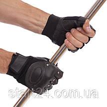 Перчатки для кроссфита и воркаута кожаные SPORT WorkOutBC-4381 размер L-XL черный, фото 3