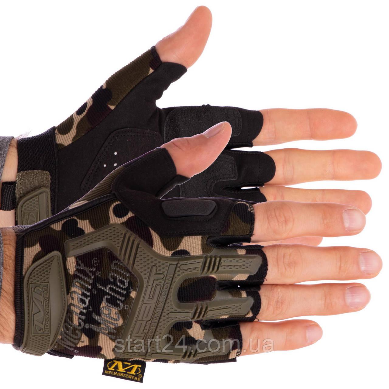 Рукавиці тактичні з відкритими пальцями MECHANIX BC-4927-HG (р-р L-XL, камуфляж Woodland)