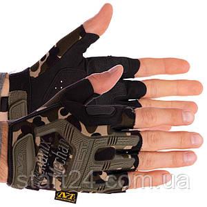 Перчатки тактические с открытыми пальцами MECHANIX BC-4927-HG (р-р L-XL, камуфляж Woodland)