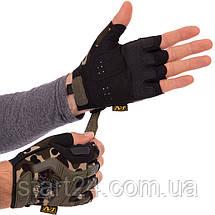 Рукавиці тактичні з відкритими пальцями MECHANIX BC-4927-HG (р-р L-XL, камуфляж Woodland), фото 2