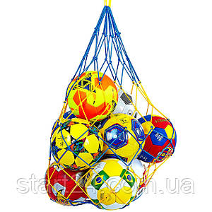 Сетка для мячей UR SO-5258 (полипропилен, d-4,5мм, 10 мячей, ячейка 12см, синий-белый, синий-желтый)