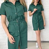 Жіноче літнє лляне плаття з поясом (Норма і батал), фото 2