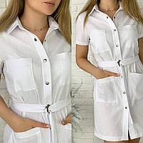Жіноче літнє лляне плаття з поясом (Норма і батал), фото 6