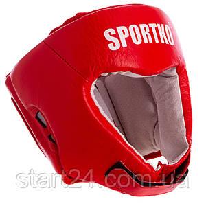 ФБУ Шлем боксерский открытый кожаный SPORTKO UR SP-4706 ОК1 (р-р М-XL, цвета в ассортименте)