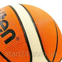 М'яч баскетбольний гумовий №7 MOLTEN BGR7-OI (гума, бутил, помаранчевий-білий), фото 3
