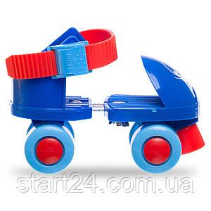 Роликовые коньки раздвижные (квады) Record K01 размер 25-30 красный, синий