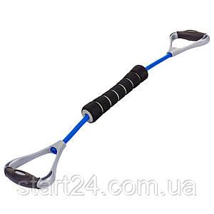 Эспандер для фитнеса PS FI-150TR-B (латекс. жгут синий, d-12x2,5мм, l-55см, ручка пластик черный-серый,