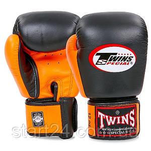 Перчатки боксерские кожаные на липучке TWINS BGVL-3T (р-р 10-16oz, черный-оранжевый)