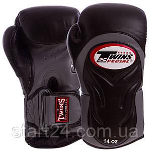 Перчатки боксерские кожаные на липучке TWINS BGVL-6-BK (р-р 10-16oz, черный-серый)