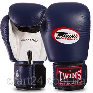 Перчатки боксерские кожаные на липучке TWINS BGVLA2-WHNVBK (р-р 10-16oz, темно-синий-белый) BGVLA-2