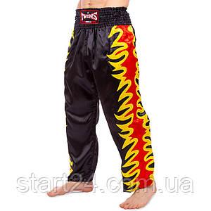 Штаны для кикбоксинга TWINS KBT-3 (сатин, р-р M-XL, рост 170-190см, черный-красный-желтый)