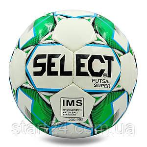 М'яч для футзалу №4 ламін. ST SUPER ST-8141 (5 сл., зшитий вручну) (білий-зелений)