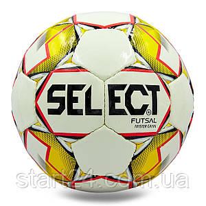 М'яч для футзалу №4 ламін. ST MASTER ST-8145 (5 сл., зшитий вручну) (білий-жовтий)