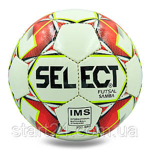 М'яч для футзалу №4 ламін. ST SAMBA ST-8152 (5 сл., зшитий вручну) (білий-червоний)
