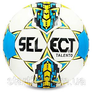 Мяч футбольный №4 PU ламин. ST TALENTO ST-8256 белый-желтый-синий (№4, 5 сл., сшит вручную)