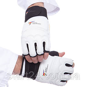 Перчатки для тхэквондо с фиксатором запястья WTF BO-2310-W (PU, полиэстер, р-р XS-XL, белый)