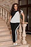 Жіночий брючний костюм двійка блуза і брюки тканина котон жатка розмір: 50-52,54-56,58-60, фото 4