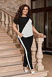 Жіночий брючний костюм двійка блуза і брюки тканина котон жатка розмір: 50-52,54-56,58-60, фото 5