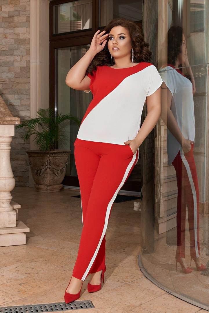 Жіночий брючний костюм двійка блуза і брюки тканина котон жатка розмір: 50-52,54-56,58-60
