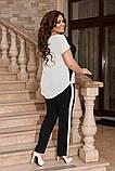 Жіночий брючний костюм двійка блуза і брюки тканина котон жатка розмір: 50-52,54-56,58-60, фото 7