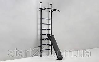 Шведская стенка с турником, скамьей для пресса и спины Sport Power Lux L-4014 (СТП-lux)  (металл, 217х66х40