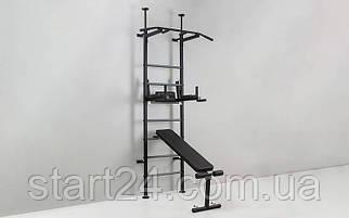 Шведская стенка с турником, брусьями, скамьей для пресса и спины Рекорд L-4241 (СТР) (металл, пластик,