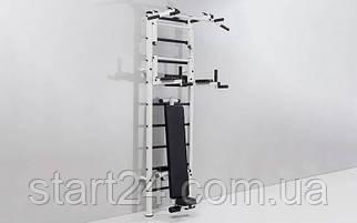 Шведская стенка с турником, брусьями, скамьей для пресса и спины Атлант L-4452 (АТЛ) (металл, 66x238x54 см)