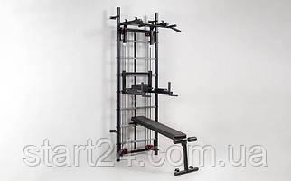 Профессиональная система эспандеров со скамьей для пресса и спины Кросс-тренер Full L-6774 (металл, 80х234х69