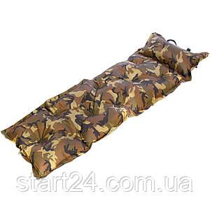 Килимок самонадувающийся з подушкою Record SY-116 (190T поліестер, розмір 1,8мх0,6мх2,5см, колір камуфляж)