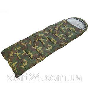 Спальный мешок одеяло с капюшоном камуфляж SY-4051 (PL,хлопок, 400г на м2,р-р 177+30х75см, t +15 до -5)