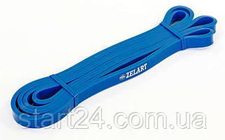 Резина для подтягиваний (лента силовая) FI-3917-B  POWER BANDS (размер 2080x13x4,5мм, жесткость XХS, синий)