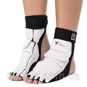 Защита стопы носки-футы для тхэквондо MTO BO-5097-W (PU, р-р S(33-34) - XL(39-40), l-19,5-27см, белый)