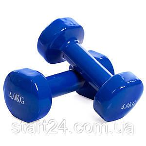 Гантели для фитнеса с виниловым покрытием SP-Planeta Радуга TA-0001-4-B (2x4кг) (2шт, синий)