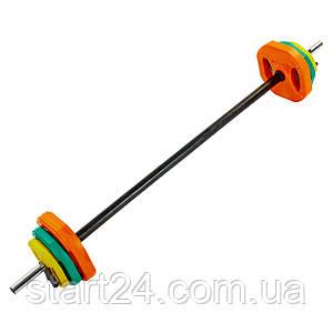 Штанга для фитнеса (фитнес памп) FI-4247 20кг (гриф l-1,3м, d-25мм, обрезин.блины 2x(1,25+2,5+5кг),
