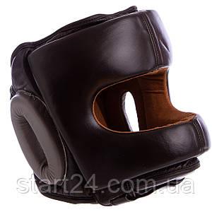 Шлем боксерский с бампером кожаный VELO BO-6636-BK (черный, р-р M-XL)