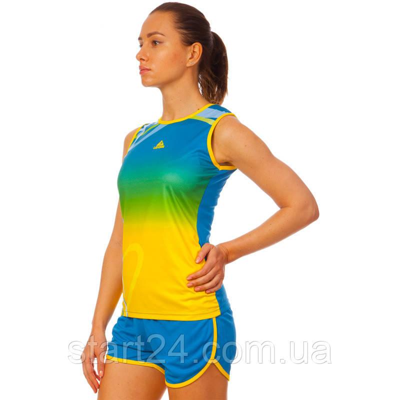 Форма для легкой атлетики женская LD-8302-1  (полиэстер, р-р L-2XL(44-50), синий-желтый-зеленый)