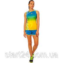 Форма для легкой атлетики женская LD-8302-1  (полиэстер, р-р L-2XL(44-50), синий-желтый-зеленый), фото 3