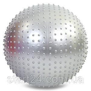 М'яч для фітнесу (фітбол) полумассажный 2в1 75см Zelart FI-4437-75 (PVC, 1300г, ABS, кольори в асортименті)