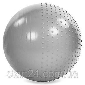 М'яч для фітнесу (фітбол) полумассажный 2в1 85см Zelart FI-4437-85 (PVC, 1400г, ABS, кольори в асортименті)