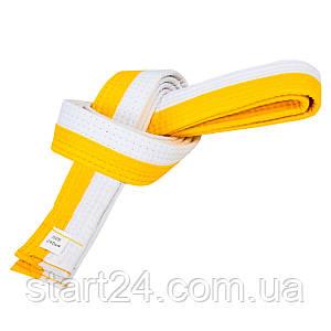 Пояс для кімоно двоколірний SP-Planeta BO-7255 (бавовна, розмір 00-5, довжина 220-280 см, жовтий-білий)