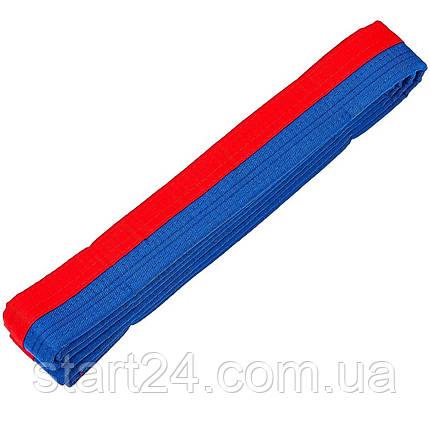 Пояс для кімоно двоколірний SP-Planeta BO-7258 (бавовна, розмір 00-5, довжина 220-280 см, синій-червоний), фото 2