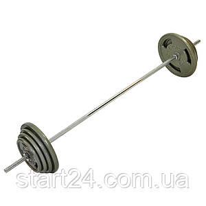 Штанга (сталеві млинці) 57кг TA-2431-57 (гриф TA-8068 l-1,8 м, млинці 2x(2,5+5+7,5+10кг))