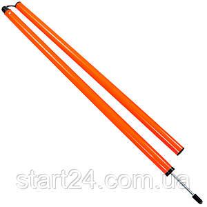 Шест для слалома тренировочный 2 сложения C-0818 (пластик, метал. штык для крепления в грунт, 183x3см, цвета в