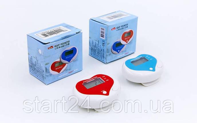 Крокомір електронний з кліпсою C-1215 (пластик, кількість кроків, відстань), фото 2